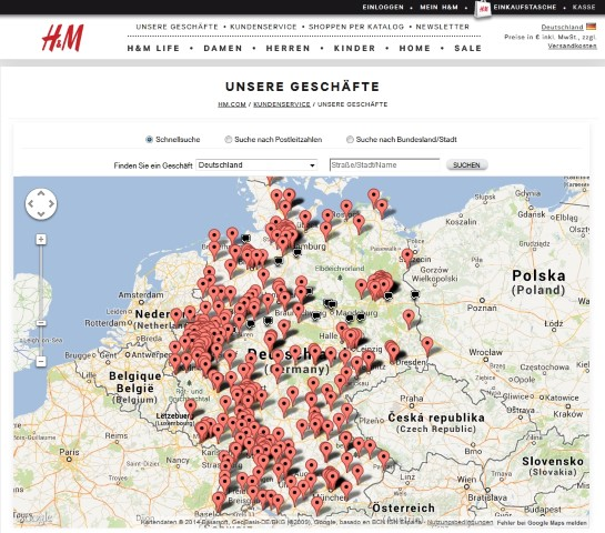 H&M Store locator H&M store locator displays list of stores in neighborhood, cities, states and countries. Database of H&M stores, factory stores and the easiest way to find H&M store locations, map, shopping hours and information about brand.
